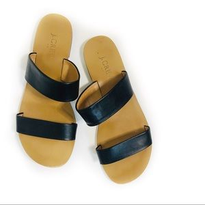 J. Crew Black Strappy Flat Sandals Size 7